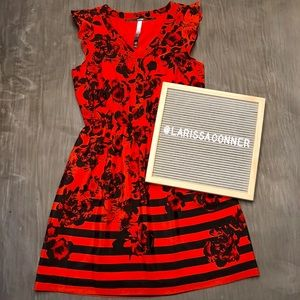 STUNNING Kensie Red Black Floral Stripe Dress Sz S